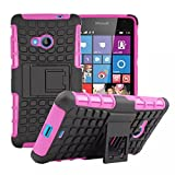 Lumia 535 Case, iCoverCase Heavy Duty Armor Hybrid [Dual Layer] Stand Back Holster Cover Case for Microsoft Nokia Lumia 535 (Hot Pink)