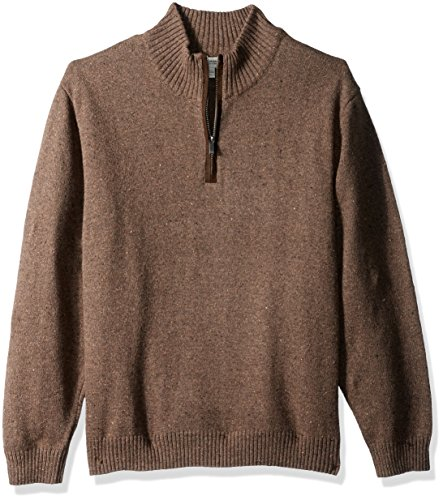 Haggar Men's Solid 1/4 Zip Sweater with Faux Suede Elbow Patches, Walnut Heather, XL by Haggar