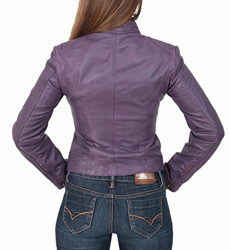 Morado Chaqueta House Casual Of Leather Biker Khloe del Genuino Mujer Estilo Cuero Ajustado xFBwxR7q