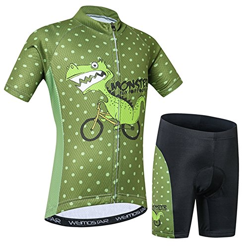 Weimostar Kids Cycling Jersey Set Cartoon Short Sleeve Bike Top for Boy Girl with Padded Shorts Riding Dinosaur Size S