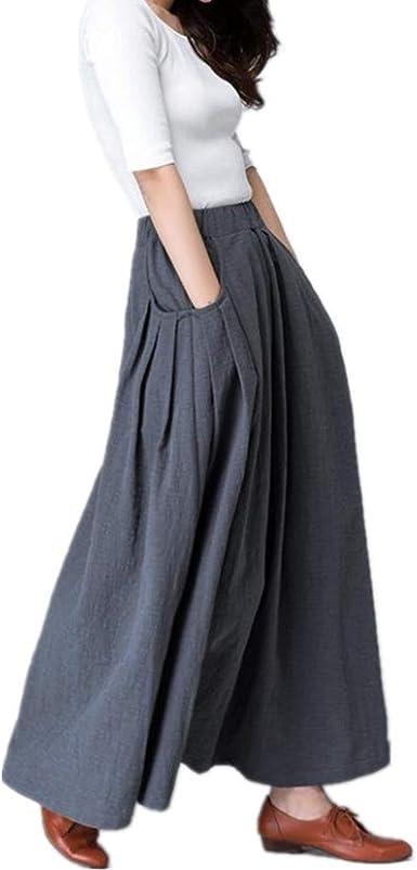 Yying Falda Mujer Retro Largas Suave Cómodo Verano Falda de Lino ...
