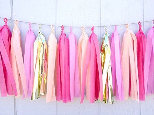 16 X Originals Group Design Tissue Paper Tassels for Party Wedding Gold Garland Bunting Pom Pom