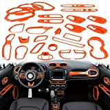 Yoursme Car Interior Accessories Decoration Cover Trim Kit 31PCS Air Conditioning Vent & Door Speaker & Water Cup Holder & Passenger Side Grab Handle Covers for Jeep Renegade 2015-2018 (Orange)