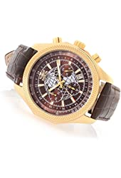 Invicta 18437 Men's World Navigator Quartz Chronograph Leather Strap Watch