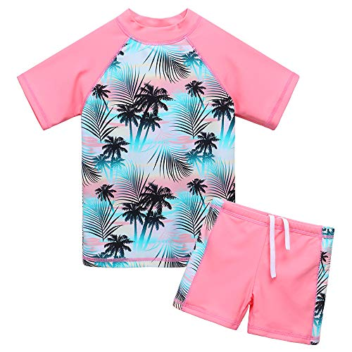 BAOHULU Girls Swimsuit Two Piece Tankini UPF 50+ UV Protective Rash Guard Set 3-12 Years (3-4Y(Tag.No 4A), GreenPink) ()