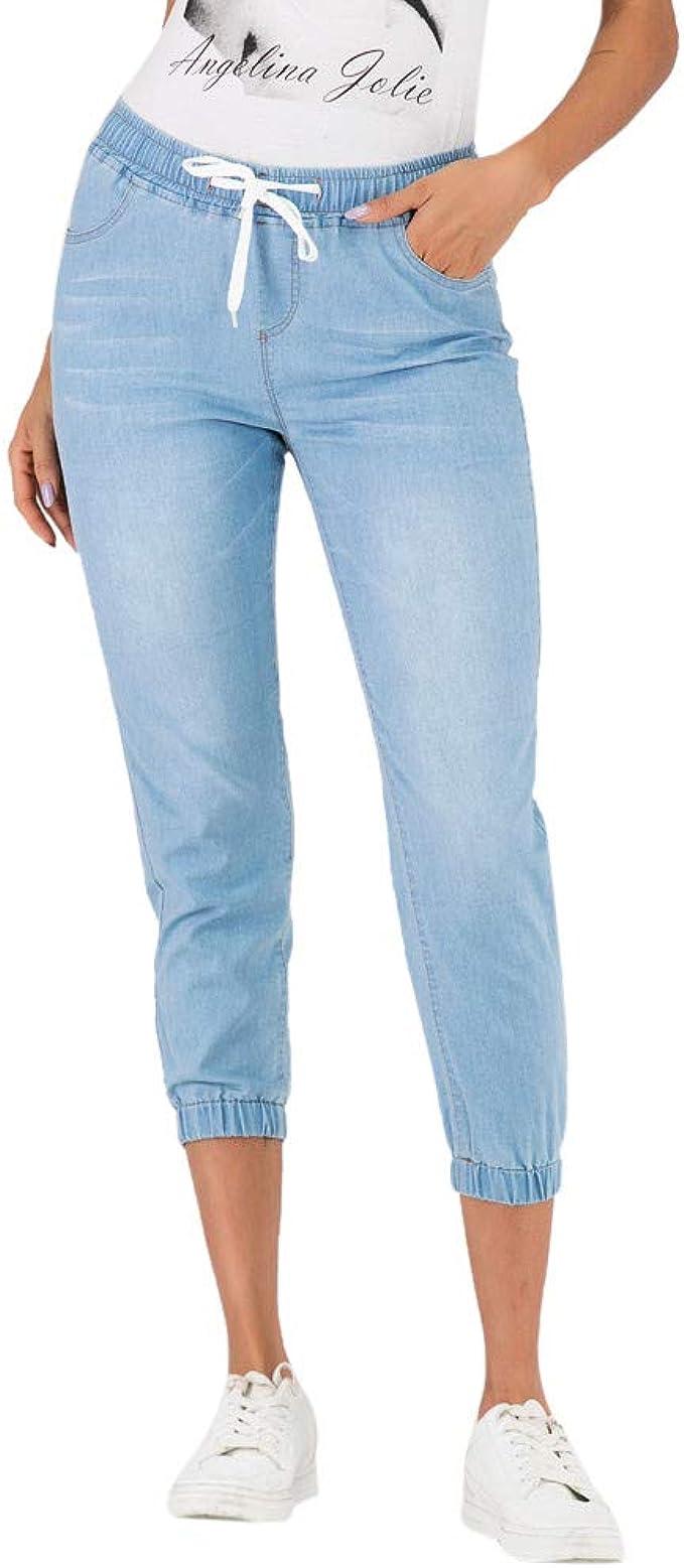 Ansenesna Jeans Mit Gummibund Damen 3 4 Lang Elegant Freizeithosen Frauen Mit Kordel Denim Hose Amazon De Bekleidung