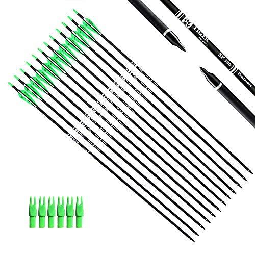 Flecha 30inch carbon con puntas removible x 12 - Green White