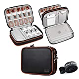Travel Electronics Organizer, Double Layer PU Leather Cable Organizer Bag Portable Electronics Accessories Cases for Cable, Charger, Phone, USB, SD Card