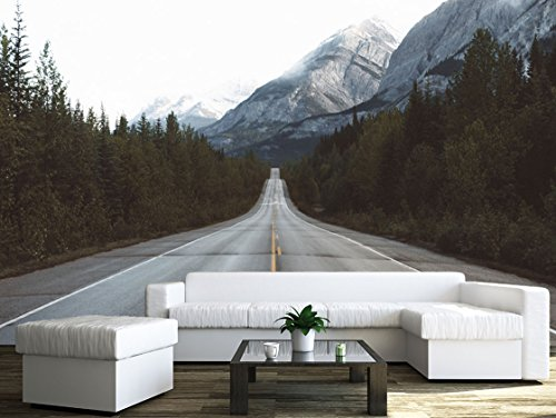 wall26 - Road in Mountain Area - Removable Wall Mural | Self-adhesive Large Wallpaper - 100x144 inches (Road Mural)