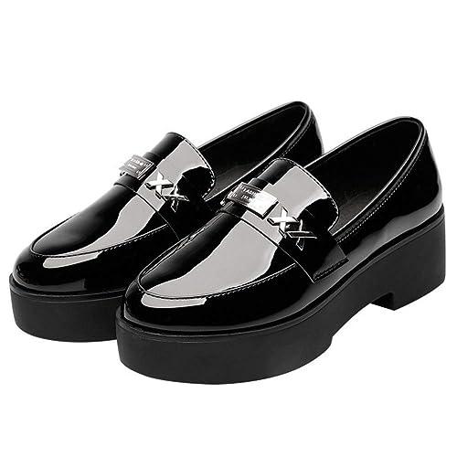 Plataforma para Mujeres Zapatos De Enredadera ResbalóN De Metal SóLido Casual Patente Pisos Mocasines De Oficina Calzado: Amazon.es: Zapatos y complementos