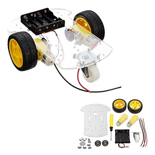 2 wheels 2 layer Robot Smart Car Chassis Kits with Speed Encoder for Arduino DIY (2 Wheels)
