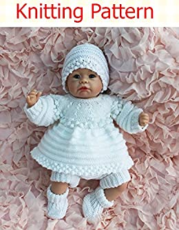 b68ef414b Amazon.com  Angel Top and Dress set with Bobbled Yoke Knitting ...