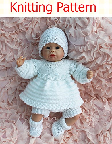Angel Top and Dress set with Bobbled Yoke Knitting Pattern (no. 60) to fit 15-20 inch doll or newborn/0-3 month baby