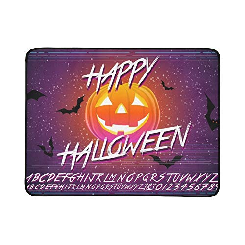 Happy Halloween Typographical Pumpkin Scary Portable and Foldable Blanket Mat 60x78 Inch Handy Mat for Camping Picnic Beach Indoor Outdoor Travel -