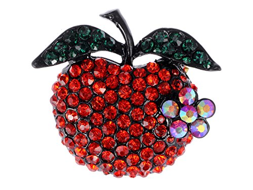 Ruby Brooch Pendant - Alilang Ruby Red Crystal Rhinestone Emerald Leaf Apple Fruit Pin Brooch
