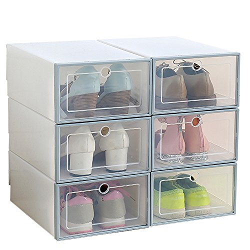 ironland 6 Pack Shoe Box Stackable Plastic Shoe Storage Organizer with Clear Door, Blue
