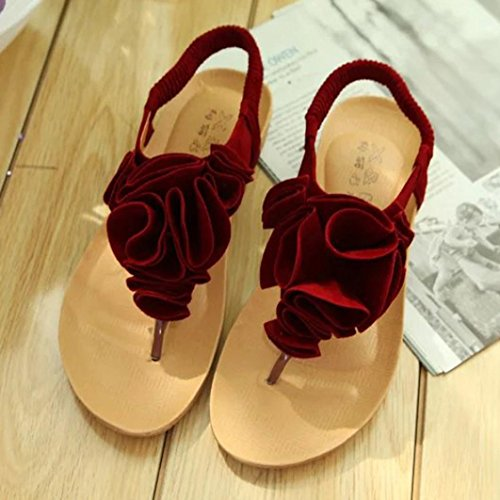 Transer® Ladies Flower Decor Flat Sandals- Women Summer Bohemia Sandals Comfortable Flat Shoes Casual Red SLNaEXeQ2O