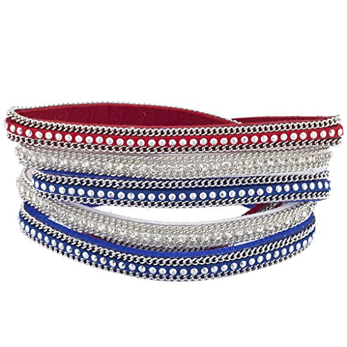 Lux Accessories Red White Blue Independence Day July 4th Magnetic Wrap Bracelet -