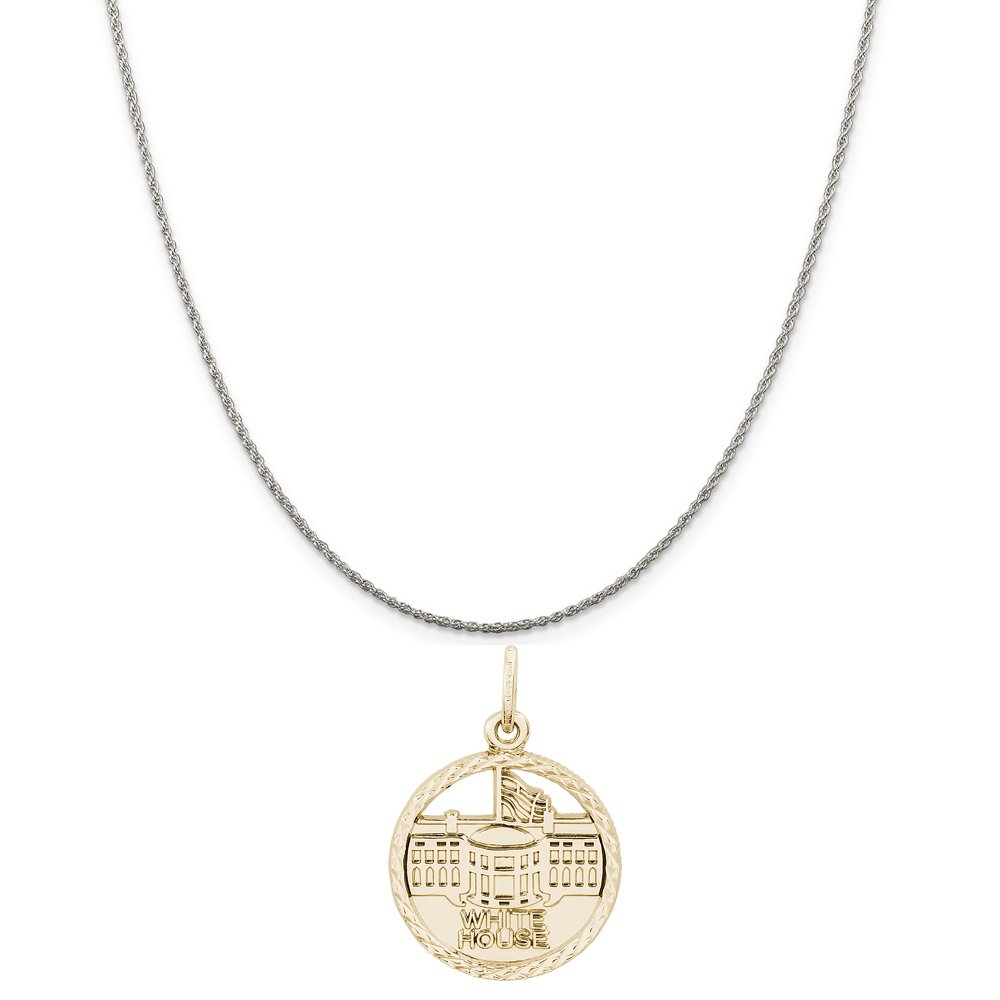 18 or 20 inch Rope Box or Curb Chain Necklace Rembrandt Charms Two-Tone Sterling Silver White House Disc Charm on a Sterling Silver 16