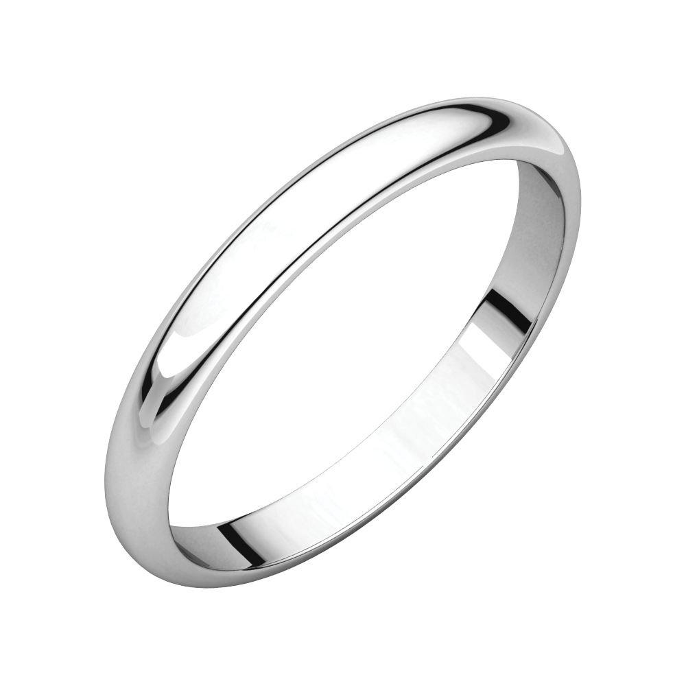 STU001- 14X1 White 2.5mm Half Round Wedding Band