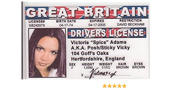 Toys Victoria Aka Spice com Novelty amp; I Adams Girls Fans Posh d Amazon Games Drivers The License Fake Identification For Girl