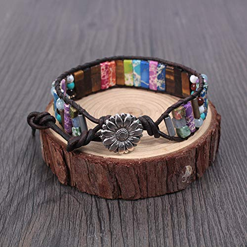 LAVI Handmade Chakra Imperial Jasper Boho Wrap Adjustable Leather Bracelet