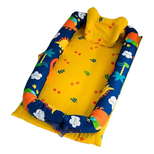 Pure Cotton Baby Bionic Travle Bed - Bassinet for Bed Portable Baby Lounger for Newborn Crib, Breathable Hypoallergenic Sleep Nest, Navy & Yellow with Dinosaur Print 37