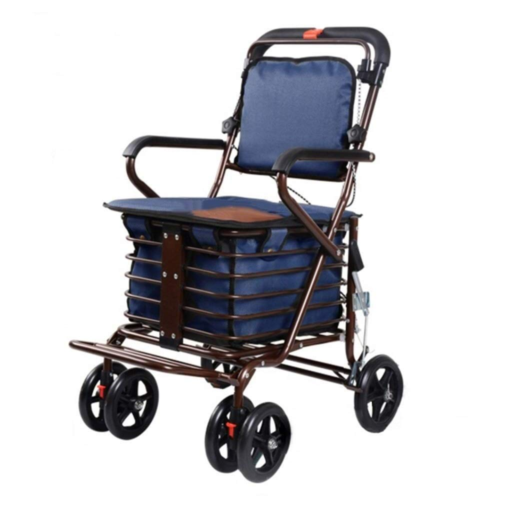 Rollator Walker with Seat Youth,with Fold Up Removable Back Support with Seat and Lower Basket Lockable Brake Auxiliary Walking Safety Walker (Color : Blue)