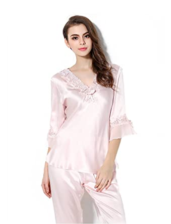 1bc59650fe49 CLC Women s Pure Mulberry Silk Nightshirt Pajama Set Sleep Sets at Amazon  Women s Clothing store
