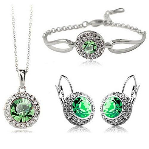MAFMO White Platinum Plated Crystal Round Shaped Necklace Bracelet Earrings Set Women Fashion Jewelry (Green)