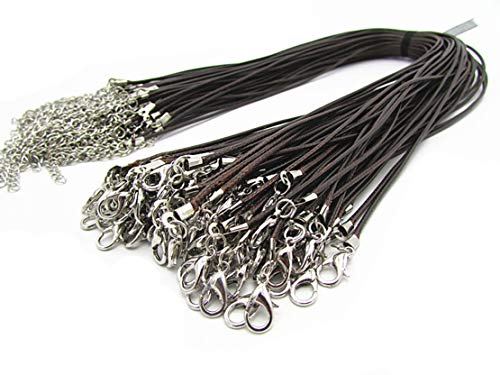 Wbang Brown Braided Leather Necklace Cord Rope with Lobster Claw Clasp 1.5mm 20Pcs ()