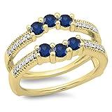 14K Yellow Gold Blue Sapphire & White Diamond Wedding Band 3 Stone Enhancer Guard Double Ring (Size 8)