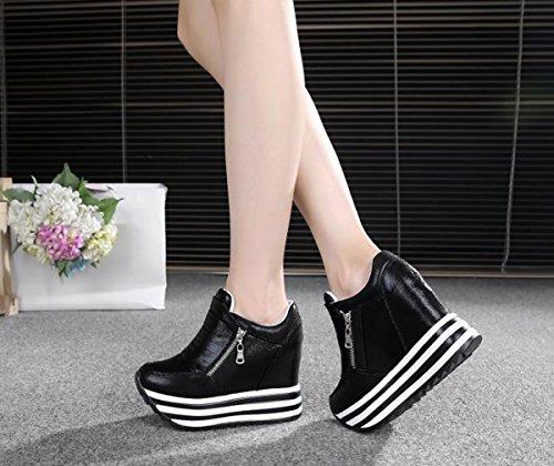 YC Womens Higher Black Platform Casual Flat Sneaker WELL Zipper Wedges High The Shoes Increased Side Heels Within XU5BXwqxr