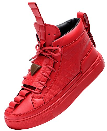 Odema Men's Lace-up High-top Fashion Sneaker With Quilting Design,red,US10.5/size44 (Mens Red Sneakers)