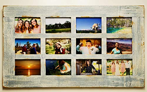 Multi Picture Barn Wood Photo Collage Frame-12 opening for 4X6 pictures, Large Farmhouse Window Style Multiframe, Family Wedding, Grandkids