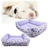 SymbolLife Rectangle Cozy Pet Bed with Fleece Lining for Dogs Cats Fully Washable Light Purple