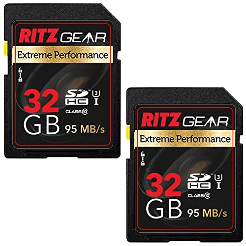 Ritz Gear Extreme Performance SD 32GB 95/45 MB/S Read/Write Speed U3 Class-10 SDHC Memory Card 2 Pack