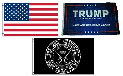 NS Enterprises 3×5 Trump #1 & USA American & NRA 2nd Amendment Wholesale Set Flag 3'x5′
