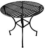 PTC Home & Garden Park Round Table with 2-Inch Umbrella Holder, Black