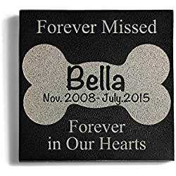 Personalized Memorial Pet Headstone Customized - Forever Missed Forever In Our Hearts - 6 x 6 Granite