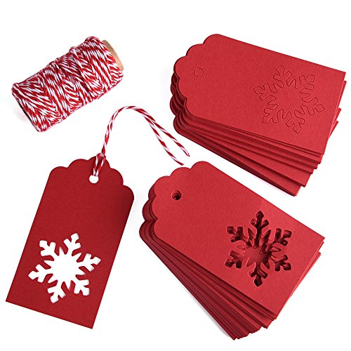Gift Tags, Zealor 100 Pieces Red Kraft Paper Gift Tags Snowflake Shape with String for Christmas Wedding Favor (Snow Tag Gift)