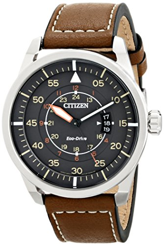 Citizen Eco-Drive Men's AW1361-10H Sport Stainless Steel Watch with Brown Leather Band