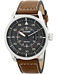 Eco-Drive Men's AW1361-10H Sport Stainless Steel Watch with Brown Leather Band