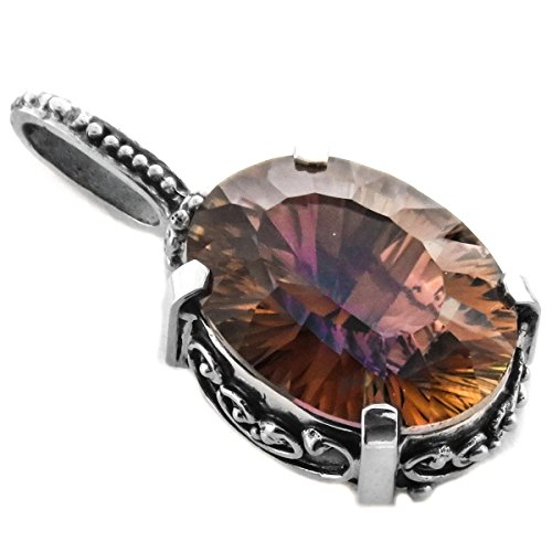 Pendant Quartz Sunset (20mm Oval Peach Purple Sunset Mystic Quartz 925 Sterling Silver Pendant, 1 1/4