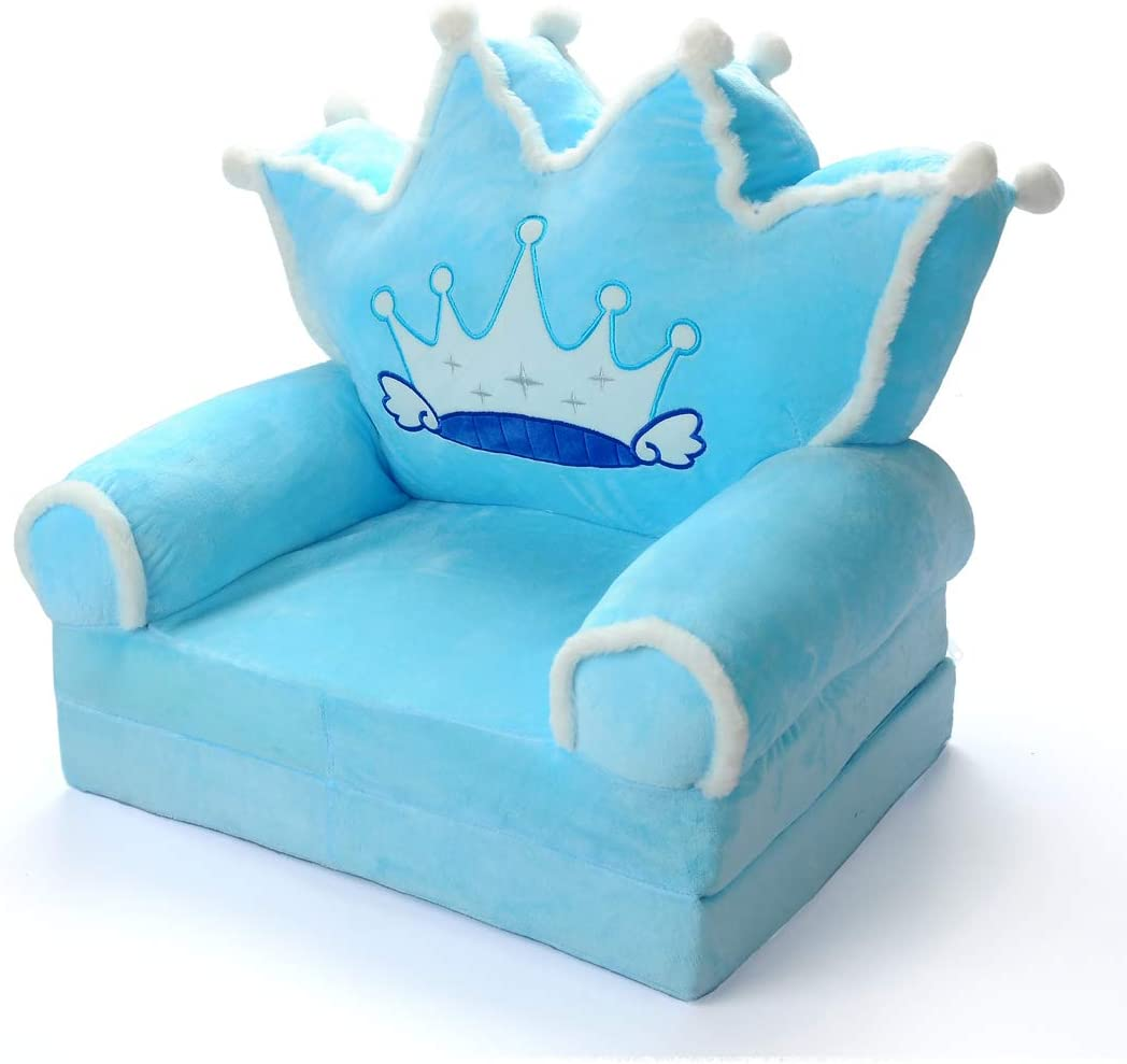 Kids-Couch-Folding-Toddler-Chair-Furniture-2-in-1 Flip-Open-Sofa-Bed-for-Living-Room-Bedroom-Kid-TV-Chair Floor Cushions for Baby Sleeper Foam Chair Recliner Seats Christmas Birthday (Blue)