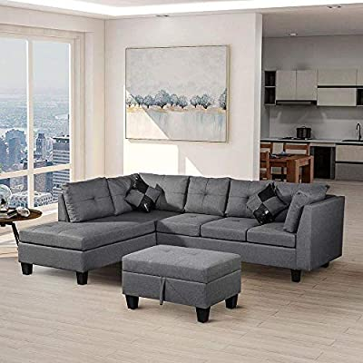 Amazon.com: 3pcs Corner Sofa Bed Living Room Sofa L-Shaped ...
