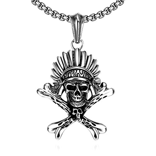 Nyan Cat Costume Cheap (iCAREu Silver and Black Tribal Punk Stainless Steel Skull Necklace for Men, 24
