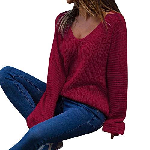 AOJIAN Women Hoodie Long Sleeve V Neck Solid Jumper Sweater Sweatshirts Pullover