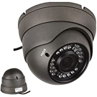 "101AV 800TVL Dome Camera 1/3"" SONY Effio-E DSP 960H CCD 2.8-12mm Varifocal Lens 100ft IR Range 36pcs Infrared LEDs WDR Wide Dynamic Range OSD Control Weatherproof Vandal proof Metal Housing High Resolution Color Wide Angle View Day Night Vision for CCTV DVR Home Office Surveillance Secure System Indoor Outdoor DC 12V External Focus Adjustment Charcoal"
