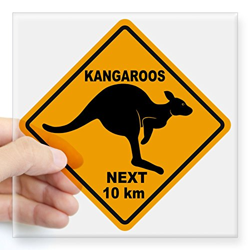 CafePress Kangaroo Sign Next Km A2 Co Square Sticker 3 X 3 Square Bumper Sticker Car Decal, 3